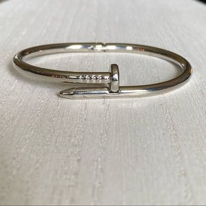 NEW! Trendy Silver Nail Bangle Bracelet